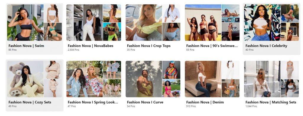 fashion nova pinterest for marketing board