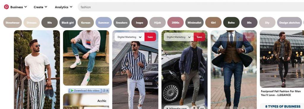 pinterest for marketing seo fashion